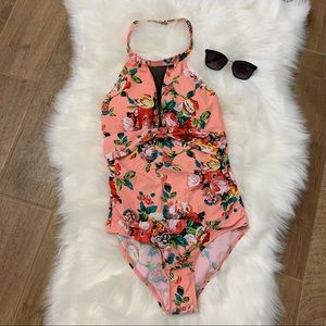 Other - Women's Floral One Piece Swimsuit with High Neck